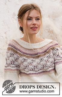 Knitted jumper with round yoke in DROPS Alpaca and DROPS Delight. The piece is worked top down with English rib, stripes and lace pattern. Knitting Patterns Free, Free Knitting, Free Pattern, Crochet Patterns, Drops Design, Drops Alpaca, Magazine Drops, Labor, Crochet Diagram