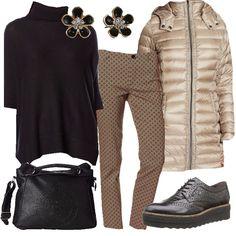 Il pantalone beige a fantasia di piccoli rombi neri si abbina al maglione morbido nero a collo alto e maniche 3/4, per cui consiglio un dolcevita nero per completare. Piumino lungo beige luminoso per coprirsi dal freddo con grazia. Ai piedi scarpe stringate nere modello derby con para alta ed impunture e borsa morbida nera e capiente. Per finire dei dolcissimi e luminosi orecchini a fiore. Cute Winter Outfits, Fall Outfits, Casual Outfits, Cute Outfits, Fashion Outfits, Womens Fashion, Derby Outfits, Business Outfits Women, Beige Outfit