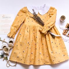 Items similar to Fall Yellow Baby Dress With Long Sleeve And White Peter Pan Collar, Toddler Floral Dress With Long Sleeve And White Collar on Etsy - Babykleidung Vintage Baby Dresses, Vintage Baby Clothes, Baby Girl Dresses, Baby Girl Fashion, Kids Fashion, Swag Fashion, Baby Girl Thanksgiving Outfit, Peter Pan, Easter Dresses For Toddlers