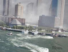 In this powerful image, boats rush to the scene where nearly 3,000 people lost their lives.  The wake left in the water by the boats conveys the urgency with which rescue teams were deployed to Ground Zero.