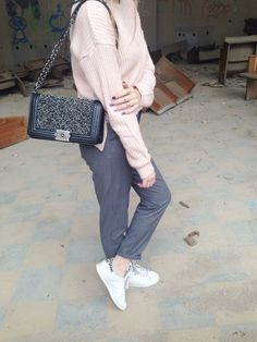 Pastels and Greys #fashion #outfit #outfits #beauty #bloggers #priestessofstyle #style #fashionpost #fashionblogger #priestess #priestess #greece #greek #blondehair #girl #sneakers #jacket #coat #trousers #pants #jumpers #bag #eyewear #glasses #sunglasses Jumpers, Chanel Boy Bag, Pastels, Blonde Hair, Eyewear, Greece, Trousers, Backpacks, Shoulder Bag