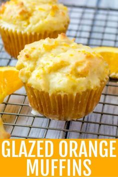 Want the perfect morning breakfast? These Glazed Orange Muffins are quick, easy and tasty, a morning treat the whole family will enjoy. #muffins #orange #quick #breakfast #tasty #zest #oranges #morning #startyourday Köstliche Desserts, Best Dessert Recipes, Gourmet Recipes, Baking Recipes, Delicious Desserts, Yummy Food, Cupcakes, Cupcake Cakes, Scones