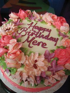 cake with buttercream flowers