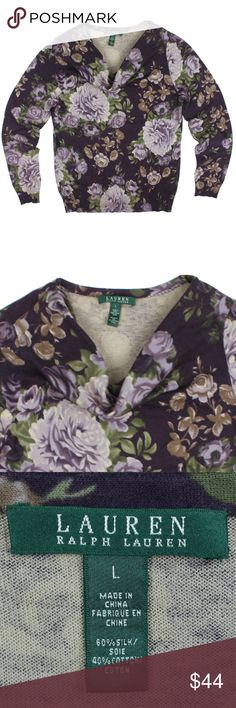 """RALPH LAUREN Floral Silk Blend Cowl Neck Sweater Size - L  This purple floral cowl neck sweater from LAUREN RALPH LAUREN is in excellent condition. It features a cowl neckline. Made of 60% Silk, 40% Cotton.   Measures: Bust: 39"""" Total Length: 25"""" Sleeves: 25"""" Lauren Ralph Lauren Sweaters Cowl & Turtlenecks"""