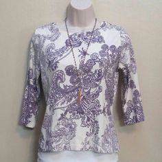 Purple flower top Talbots top.  100% cotton.  Light cream colored with purple flowers. Talbots Tops