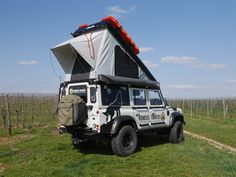 The most significant action to do as soon as you have gotten shelter is to quit moving until the sun goes down. Landrover Defender, Land Rover Defender Camping, Defender Camper, Roof Rack Tent, Roof Top Tent, Overland 4runner, Adventure Campers, Motorcycle Camping, Expedition Vehicle