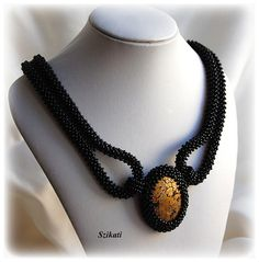Right angle weave cabachon  | Beaded gold & black Right Angle Weave seed bead by Szikati on Etsy