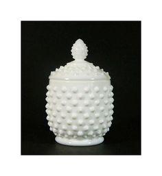 Vintage Fenton Hobnail Milk Glass Jam Pot by ForageAntiques