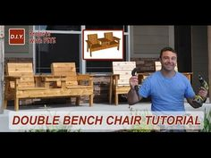 Step by step instructions free patio chair plans and a 15 minute video walking you through the entire process of building a double chair banch. Outdoor Furniture Plans, Pallet Furniture, Furniture Projects, Furniture Stores, Cheap Furniture, Wood Projects, Patio Chairs, Outdoor Chairs, Patio Loveseat