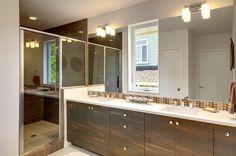 "Contemporary 3/4 Bathroom with Dolan Designs 3882-26 Chrome 2 Light 7.75"" Height Bathroom Vanity Light, specialty door, Flush"