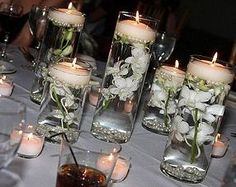 Floating orchids and candle center piece