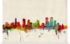Michael Tompsett Poster Print Wall Art Print entitled Denver Skyline, None