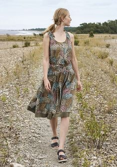"""Källa"" dress in cotton – Dresses & Tunics – Gudrun Sjödén"