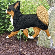 6 Coat Styles-Chihuahua (Long Hair) Wood Carved Dog Figure Yard Garden Stake. Home Products