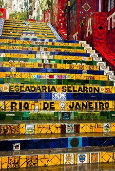"The amazing piece of art ""Escadaria Selaron"" staircase is the world-famous steps in Rio de Janeiro, done by Chilean-born artist Jorge Selarón."