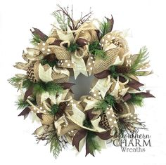 Beautiful rustic burlap Christmas wreath in the woodland, nature theme. I love the soft colors of jute, cream and moss green. The burlap, branches and spiked greenery add so much texture.