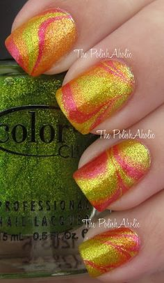 The PolishAholic: NOTD: Glass Fleck Water Marble