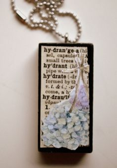 $12 Etsy Vintage Domino Necklace Blue Hydrangea Altered Upcycled