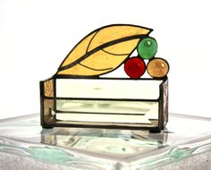 Autumn Fall Colors Leaf with Jewels Stained Glass Business Card Holder. $38.00, via Etsy.