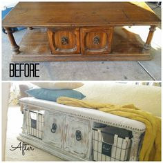 Upholstered Bench from a Coffee Table · Addison Meadows Lane Makeover an old coffee table into a bench! Such a great idea for an end of bed bench. May be a decor DIY project for this weekend. Refurbished Furniture, Repurposed Furniture, Furniture Makeover, Chair Makeover, Door Makeover, Refurbished Coffee Tables, Handmade Furniture, Furniture Projects, Furniture Making