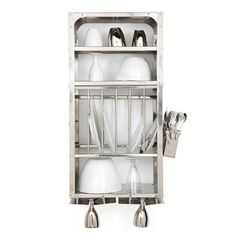 A Luxury Item for Small Kitchens: A Stainless Steel Wall-Mounted Dish Rack