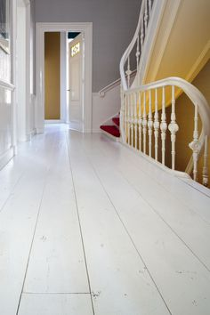 Home Decorators Collection Blinds Product Painted Wooden Floors, Painted Floorboards, White Staircase, Victorian Townhouse, Hallway Decorating, Home Staging, Beautiful Interiors, Interior Inspiration, Condo