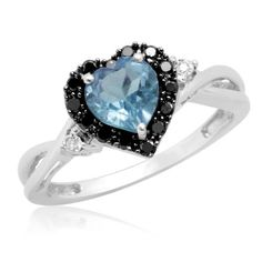 10k White Gold Heart Shaped Blue Topaz with Round Black and White Diamond Ring, Size 6