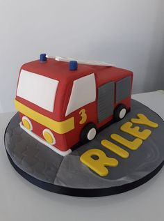 Fire Engine for boy's birthday by Combe Cakes Fire Engine, Archie, 3rd Birthday, Little Boys, Cake Decorating, Engineering, Cakes, Daily Inspiration, Cake Ideas