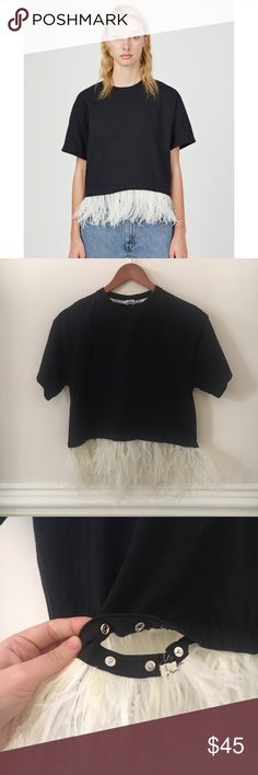 NWOT Opening Ceremony Rework Feather Tee Body black tee with detachable feather trip. NWOT Opening Ceremony Tops