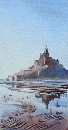 art acuarela La Lgende du Mont-Saint-Michel L - art Watercolor Pictures, Watercolor Landscape, Abstract Watercolor, Watercolor And Ink, Watercolour Painting, Landscape Art, Landscape Paintings, Watercolours, Painting & Drawing