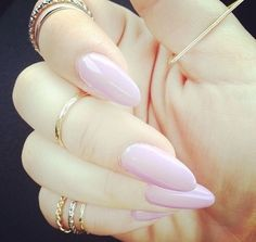 Ballet pink almond shaped nails