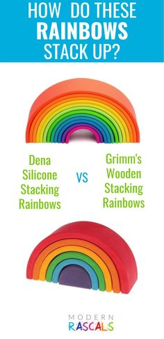 Looking for rainbow stackers? Love rainbow stacking toys? We do too! We have Dena's silicone and Grimms wooden rainbows in stock right now but you might wonder how do they compare? Which one should you choose? Read this post to learn which rainbow stacker is the best. If we're being honest, both rainbow stackers are a great addition to your open-ended playroom. Grimm's Toys, Baby Toys, Kids Toys, Grimms Rainbow, Wooden Rainbow, Water Based Stain, Stacking Toys, Love Rainbow, Dena