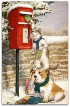 Vintage Christmas Art ~ - paint and art Christmas Scenes, Christmas Animals, Christmas Cats, Christmas Pictures, Winter Christmas, Christmas Time, Merry Christmas, Christmas Cookies, Christmas Posters