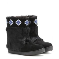 Tory Burch - Lafayette embroidered suede boots with fur - In classic black, Tory Burch preps us for winter with these embroidered suede boots. Coated with soft fur, they're a bohemian choice for cold days. The shearling lining promises to keep you snug no matter what the temperature. seen @ www.mytheresa.com