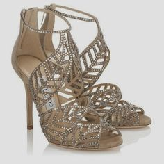 Jimmy Choo Shoes Kallai Nude Mix Suede and Hotfix Crystal Sandals from 2014 Bridal Collection