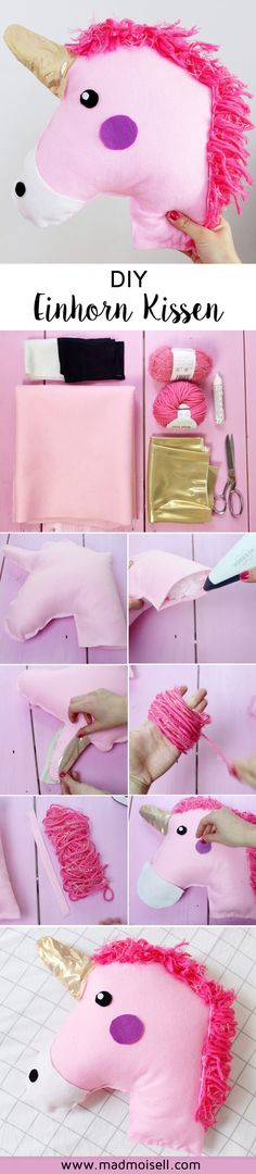 Making DIY unicorn cushions yourself: Instructions without sewing! Making DIY unicorn cushions yourself: Instructions without sewing! Unicorn Cushion, Unicorn Pillow, Deco Tumblr, Fun Crafts, Diy And Crafts, Make Your Own Pillow, Leftover Fabric, Diy Pillows, Sewing For Beginners