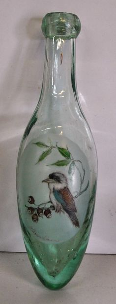 tx for sharing from AUS: Antique torpedo bottle with hand painted kookaburra, gum nuts and leaves. https://www.ebay.de/itm/232714453411?ViewItem=&item=232714453411