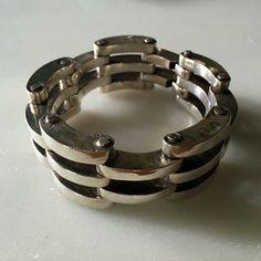 Vintage Taxco Mexico Sterling Silver Gate Bracelet by OKOgallery