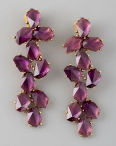 Oscar de la Renta Clustered Crystal Drop Earrings - Purple