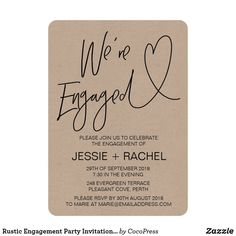 These modern engagement invites are a beautiful way to let your guests know about your engagement party! These invitations are a beautiful black and white design, the perfect way to set the scene for your upcoming wedding stationery. Engagement Party Planning, Engagement Party Decorations, Engagement Party Invitations, Wedding Engagement, Engagement Parties, Engagement Photos, Engagement Ideas, Wedding Planning, Rustic Invitations