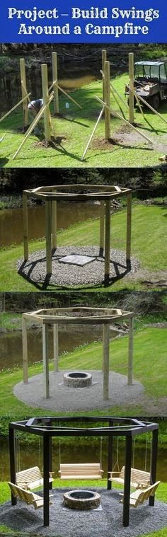 http://stainlesssteelproperties.org/category/stainless-steel-patio-heater      How to build  swings around an fire pit!!  have a look at those fire heaters....        http://stainlesssteelproperties.org/category/stainless-steel-patio-heater