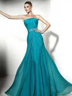 A-line Floor-length Strapless Beading Sleeveless Chiffon Prom Dress
