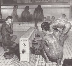 "(Japanese bath house), long ago anybody that had tattoos were aloud to enter. Now if you have even the tiniest tattoo you will not be aloud in. Sadly the"" Sentou"" bath houses in Japan have been declining over the years. Johnny Depp, Japanese Gangster, Japanese Bath House, Japanese Tatoo, Old Tattoos, Vintage Tattoos, Crazy Tattoos, History Tattoos, Full Body Suit"