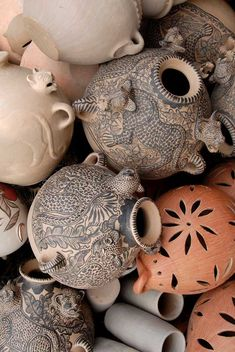 A pile of ceramic vessels, including jaguar pots, at a women's coop in Amatenango del Valle, Oaxaca Mexico.