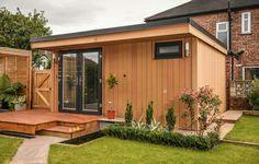 Composite cedar cladding Cedar Cladding, Building A House, Build House, Garden Office, Staircase Design, Home Remodeling, Shed, Home And Garden, Outdoor Structures