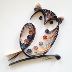 quilling owl, very cute Arte Quilling, Paper Quilling Patterns, Quilled Paper Art, Quilling Paper Craft, Quiling Paper, Quilling Work, Quilling Tutorial, Owl Crafts, Paper Crafts