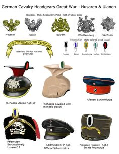 WWI Technical Reference Table German light Cavalry Husaren were a ligh cavalry speciality, while ulanen were lancers, I think I have drawn, except. German Husaren and Ulanen headgear
