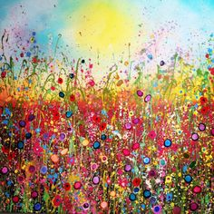 Joyful mixed media canvas by Yvonne Coomber
