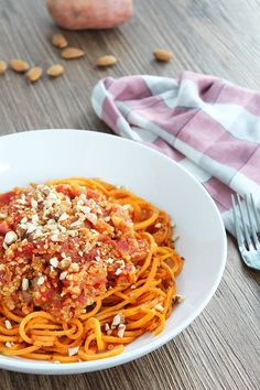 Quinoa Sweet Potato Noodle Bolognese with Toasted Crushed Almonds