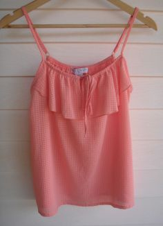 Cotton On Women s Semi-Sheer Pink Singlet with Fabric Frill  - Size M